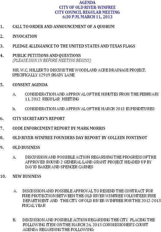 3-11-13 Agenda