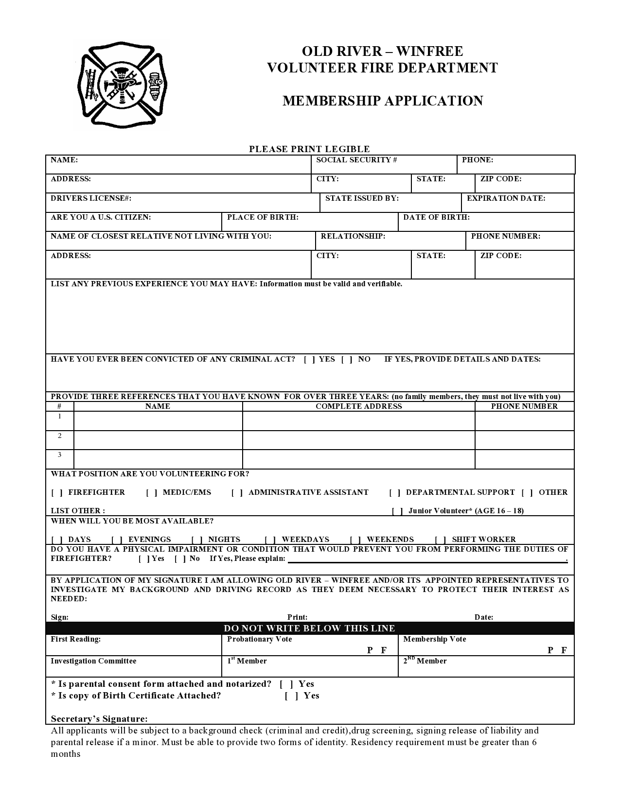 Little York Volunteer Fire Department Application and Information Form ...