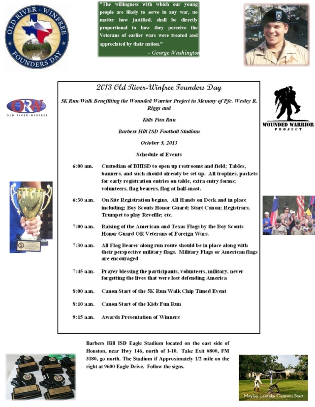 5 K Schedule of Events